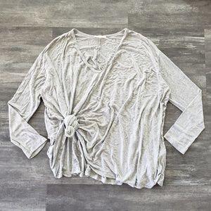 Grey Oversized Lush Vneck Long Sleeve